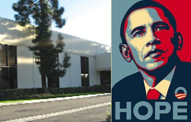 Obey Clothing's Irvine building, Fairey's Obama poster: nearly 100,000 square feet