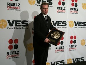 Director Christopher Nolan with the VES Visionary Award he received Feb. 1