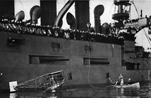 Scenes from 100 years of naval aviation,  businessman Glenn Curtiss visits the USS Pennsylvania near the Embarcadero in 1911
