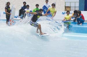 Solana Beach-based American Wave Machines' SurfStream wave machine is incorporated into a surf arena at an outdoor mall near Lima, Peru.