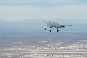 The X-47B, a pilotless, experimental aircraft without a tail built by Northrop Grumman, is about as big as a fighter jet. It has no tail protruding above the wing, making it harder for the enemy to detect.