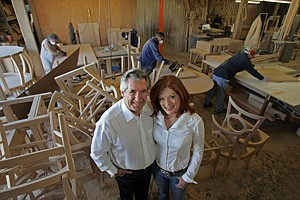 Co-founders Keith and Gayle Hudson at the Inglewood facility of furniture company GLP Designs.