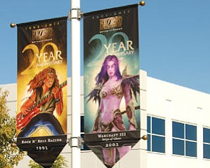Banners at Blizzard campus: part of 20th anniversary