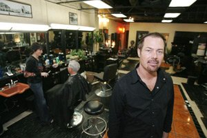 Clinton Schudy at Oakley's Barber Shop.