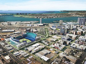 The future of California redevelopment programs may affect financing for a new San Diego Chargers stadium, if the project goes forward at all. Pictured is a rendering of a proposed downtown stadium that the Chargers distributed last year.