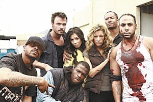 """Films: Bass Gabrielle (far right, in bloody shirt) and cast of """"Live No More."""""""