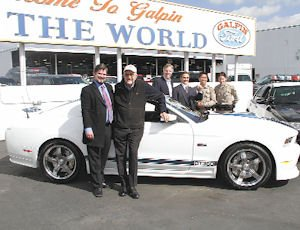 Mustang: Beau Boeckmann, of Galpin Ford, with Carroll Shelby, car designer.