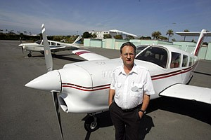 Nicolas Ullmann, owner of flight school Proteus Air Services, at Santa Monica Municipal Airport.