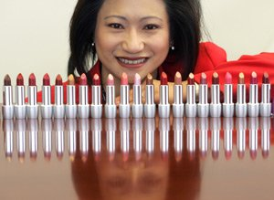 Connie Tang, chief executive of cosmetics manufacturer Jafra, with a collection of lipsticks at the company's headquarters in Westlake Village.
