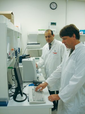 Mohamed Hachicha, in the background, and Richard Martin work in the lab at Apricus Bio subsidiary NexMed. Apricus says it has filed a request with the FDA for orphan drug designation for its product RayVa, which treats a condition called Raynaud's phenomenon in patients with systemic sclerosis.