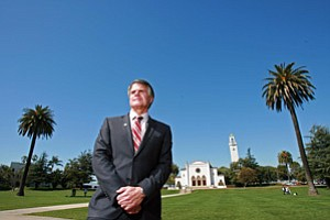 David Burcham, president of Loyola Marymount University, on the campus of the Catholic institution in Westchester.