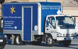 Apria home healthcare truck: company has $2 billion in yearly revenue