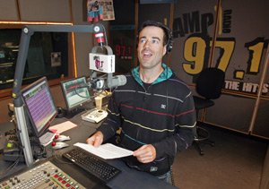 DJ Carson Daly at his four-hour daily morning show at KAMP-FM's studios in Los Angeles.