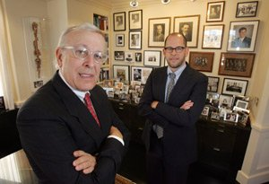 Billionaire Marc Nathanson and his son Adam in the offices of the family's Mapleton Investments in Westwood.