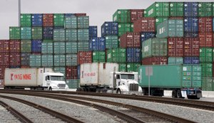 Trucks at the Port of L.A., which wants repayment of some subsidies.