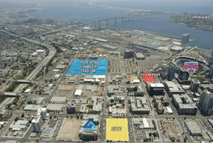A 60,000-square-foot block of property bound by 13th Street, 14th Street, Market Street and G Street in downtown San Diego has been sold in a $9.75 million transaction.