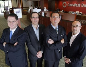 From left, Vice Chairman Brian Brooks, Chairman Steven Mnuchin, CEO Joseph Otting and Vice Chairman David Fawer at OneWest headquarters.