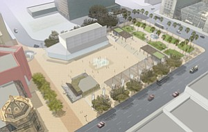 This, the Forum plan, is one of three design concepts put forward for a planned public square adjacent to Westfield Horton Plaza in downtown San Diego.