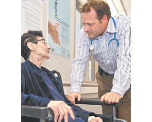 Care: Dr. Eyal Shtorch talks to patient Eleanor Ott at Mission Community Hospital in Panorama City on June 24.