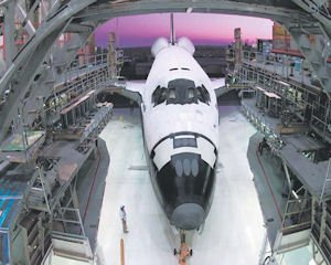 Space: The orbiter Atlantis backs out of the manufacturing hangar in Palmdale.