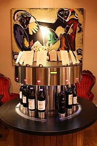 Card-operated wine dispenser at 3Twenty Wine Lounge in Los Angeles.