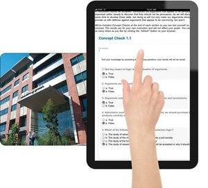Bridgepoint Education, based in San Diego's northern suburbs, serves 99 percent of its students online. Typical college course material offered by its Ashford University is shown on the iPad at right.