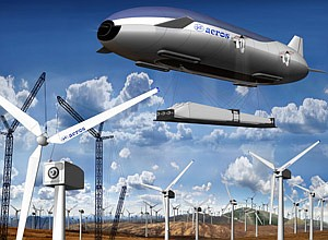 Rendering of Aeros' huge airship transporting blades to a wind farm.