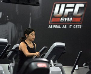 Member exercises at UFC Gym's club in Rosemead.