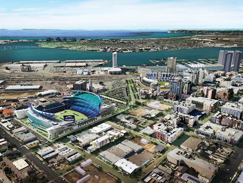 The most recent design plan, issued by the Chargers in 2010, shows a proposed $800 million stadium that would be built adjacent to downtown San Diego's East Village.