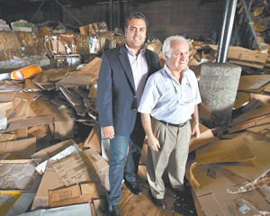 Differences: Sepand Samzadeh (left) with his father, Sam, at Valley Recycling. The son said he brings a different mindset to the business than his father's.