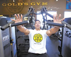 Exercise: A customer at the Gold's Gym in Simi Valley, one of eight operated by brothers Willy and Angel Baños.