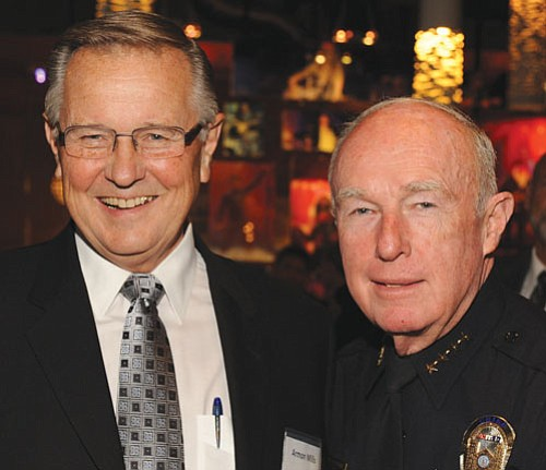 Armon Mills, board chairman of the San Diego Police Foundation, along with police Chief William Lansdowne greeted guests at a fundraiser.
