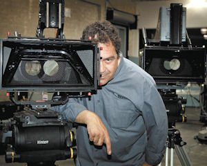 "Camera: 3ality founder and CEO Steve Schklair with a 3D rig. 3ality equipment is being used on the sets of film productions ""The Hobbit"" and ""The Great Gatsby."""