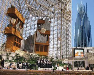 Main sanctuary: seats nearly 3,000; Inset: Crystal Cathedral tower