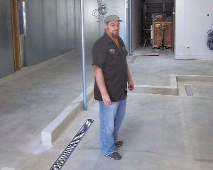 Brew: Steve Kinsey in the room where the fermentation and serving tanks will go.