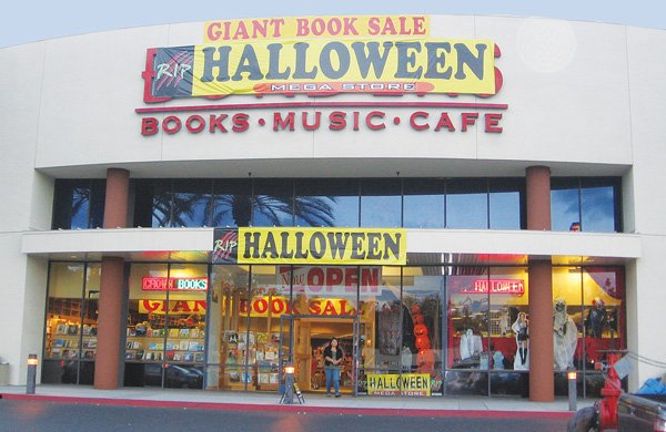 Crown Books, operated by San Diego-based A&S Booksellers Inc., has the seasonal RIP Halloween Store at five local sites. This one is inside a former Borders bookstore at The Courtyard retail center in Carmel Mountain.