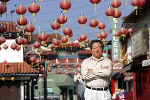 Los Angeles Chinatown Business Council's George Yu in the Central Plaza.