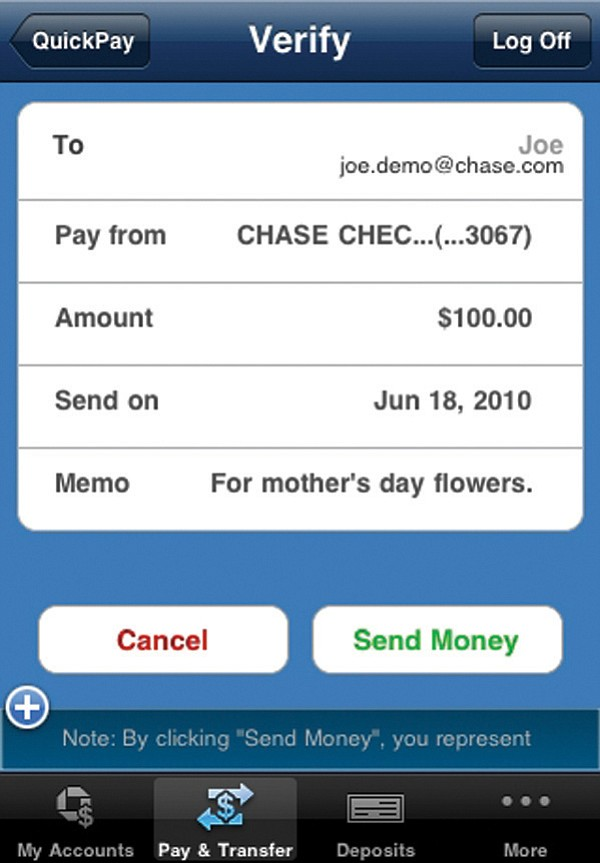 Services such as Chase's QuickPay allow users to send direct payments to others using a mobile phone.