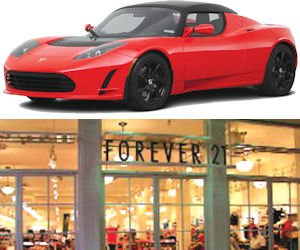 Tesla: luxury electric automaker opened store at Fashion Island; Forever 21: flagship store at South Coast Plaza strong draw.