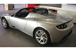 Consumer buzz: electric car from Tesla Motors on display in Fashion Island