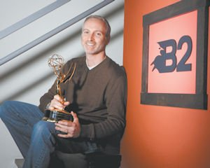 Winning: Brian Briskman with the Daytime Emmy Award B2-Creative Studios won for a webisode series the company did featuring ABC Network soap opera stars.