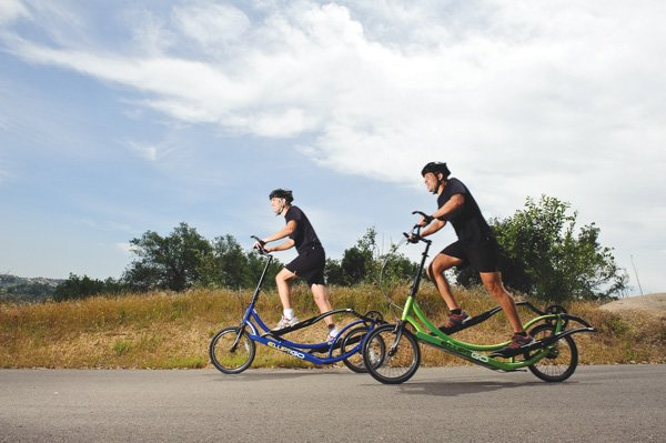 Bryan Pate, left, and Brent Teal are the founders of ElliptiGO, a maker of an outdoor workout machine that combines features of an elliptical training machine with a bicycle. The business reports that revenue from selling the machines is expected to increase this year to $4 million.