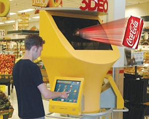 Advertising: Provision kiosks don't require 3D glasses to see holographic image.
