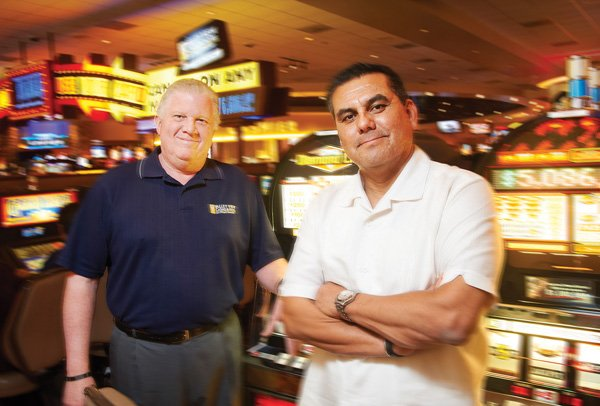 Bruce Howard, general manager of Valley View's casino and hotel, left, and Joe Navarro, CEO of the San Pasqual Casino Development Group, are aiming to make Valley View the cleanest, safest and friendliest casino in San Diego County.