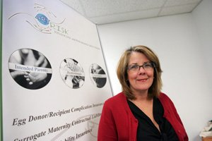 Virgina Hart at surrogacy insurance brokerage Art Risk in Valencia.