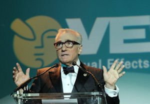 Director Martin Scorsese speaks to an audience of 1,000 people at the Visual Effects Society Awards on Feb. 7