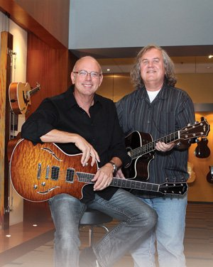 Bob Taylor, left, and Kurt Listug, co-owners of Taylor Guitars, are 'firing on all eight cylinders' with record production and sales in 2011, according to the company.