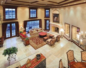 43 Linda Isle: front room of grand home on Newport Beach island