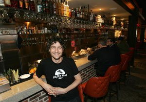 Tony Yanow, owner of Beer and Food Management LLC, at the bar of his recently opened Echo Park restaurant, Mohawk Bend.