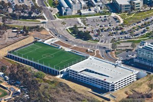 A 1,200-stall, 500,000-square-foot parking structure complex recently opened to serve the Thornton Hospital Cardiovascular Center at UC San Diego's East Campus in La Jolla. The $24 million project consists of a five-level garage with 819 stalls and a two-level garage with 428 stalls plus a synthetic-turf soccer field and archery range on top of the two-level garage.